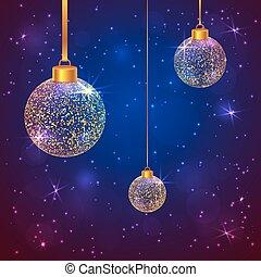 Set of 3 sparkled Christmas balls