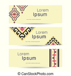 Set of 3 tribal banners. Ethnic business background, vector illustration.
