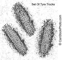 Set of 3 vector trail designs, traces of the tyre in grunge style for your design.