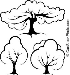 Set of 3 vector trees