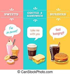 Set of 3 vertical fastfood banners. Vector illustration, eps10.