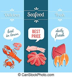 Set of 3 vertical seafood banners with lobster, shrimps, tuna, salmon and so. Vector illustration, eps10.