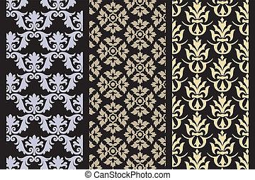 Set of 3 Victorian seamless pattern