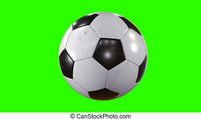 Set of 3 Videos. Beautiful Soccer Ball Rotating in Slow Motion on Green Screen. Looped Football 3d Animation of Turning Ball. 4k