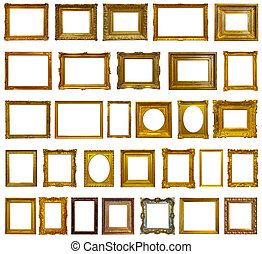 Set of 30 gold picture frames. Isolated over white...