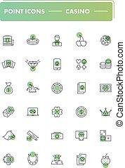Set of 30 line icons. Casino