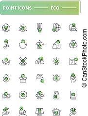 Set of 30 line icons. Eco
