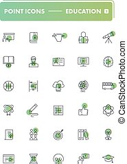 Set of 30 line icons. Education