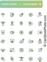 Set of 30 line icons. Investment