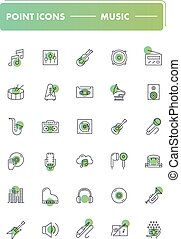 Set of 30 line icons. Music