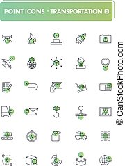 Set of 30 line icons. Transportation