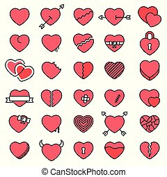 Set of 30 simple icons hearts for Valentine's day, web design, sites, applications, games, stickers?