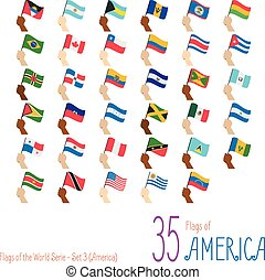 Set of 35 flags of America. Hand raising the national flags of 35 countries of America. Icon set Vector Illustration.