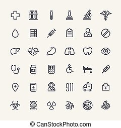 Set of 36 Medical Icons - Set of 36 Icons for Medical...