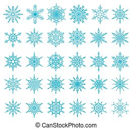 Set of 36 snowflakes, vector illustration