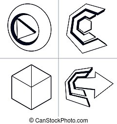 Set of 3d abstract icons