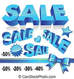 Set of 3d blue sale icons