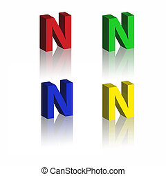 set of 3d bold alphabet with reflection on white background.