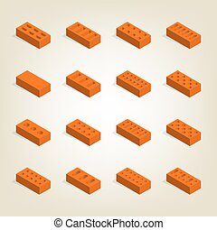 Set of 3d bricks in isometric, vector illustration.