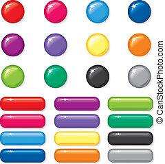 Set of 3D button