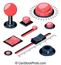 Set of 3D buttons switches regulators
