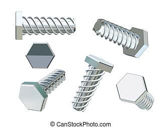 set of 3d chrome screws isolated over white