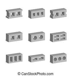 Set of 3D cinder blocks, vector illustration.