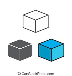 set of 3D cube with different style isolated on white background