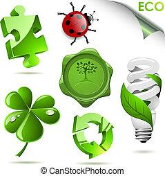 Set of 3D eco symbols isolated on white.