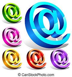 Set of 3d email symbols