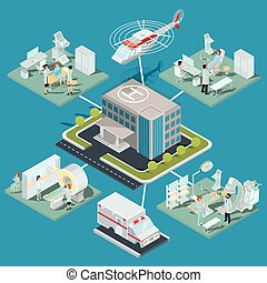 Set of 3D flat isometric illustrations of medical clinic ...