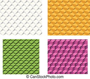 Set of 3D geometric seamless pattern