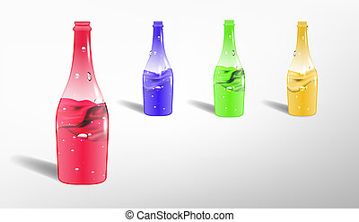 bottles with colorful liquids
