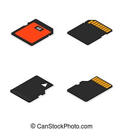 Set of 3D isometric memory cards, vector illustration.