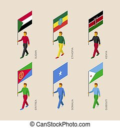 Set of 3d isometric people with flags of African countries.