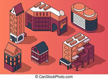 set of 3D isometric residential multi-storey buildings