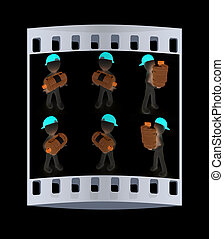 Set of 3d man carrying a water bottle with clean blue water. The film strip