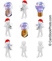 Set of 3d man with energy saving light bulb