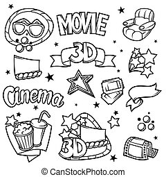 Set of 3d movie design elements and cinema objects in cartoon style