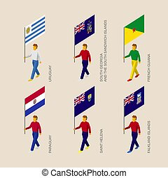 Set of 3d people with flags of South America countries
