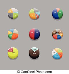 set of 3D pie charts. business items and stats with the numbers.