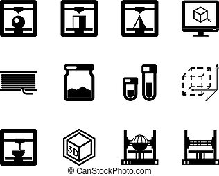 Set of 3d printing black vector icons