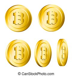 Set of 3d realistic golden metallic bitcoins rotated isolated on white background. Vector illustration