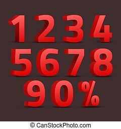 Set of 3D red numbers sign. 3D number symbol with percent discount design