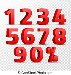 Set of 3D red numbers sign. 3D number symbol with percent discount design isolated