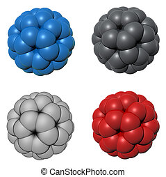 Set of 3d rendered model of molecule - isolated on white background