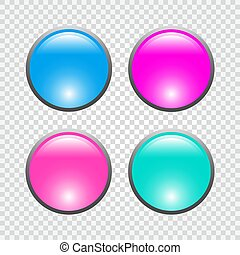 Set of 3d round web buttons. Vector illustration