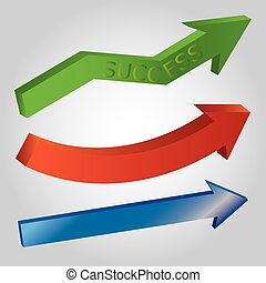 Set of 3d shiny arrows: green with word success, red, blue on light grey background