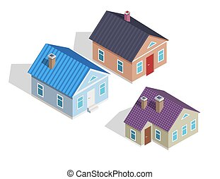 Set of 3D Small Isometric Houses with Chimneys
