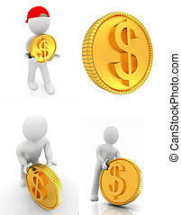 Set of 3d small man with gold dollar coin